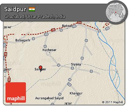 Free Shaded Relief Map Of Saidpur - Saidpur map