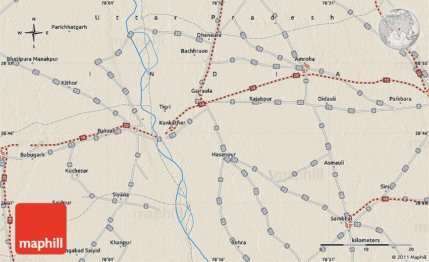 Shaded Relief Map Of Saidpur - Saidpur map