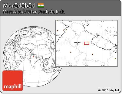 Blank Location Map of Morādābād