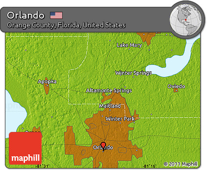 Map Of Orange County Florida.Free Physical Map Of Orlando