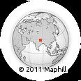 Outline Map of Annapurna Sanctuary, rectangular outline