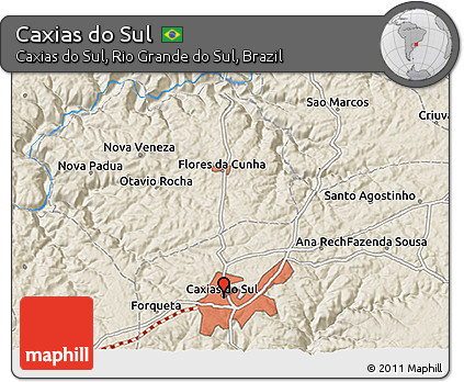 Free Shaded Relief 3D Map of Caxias Do Sul