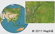 Satellite Location Map of Zigong