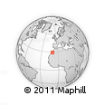 """Outline Map of the Area around 29° 16' 6"""" N, 10° 7' 30"""" W, rectangular outline"""