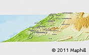 """Physical Panoramic Map of the area around 29°16'6""""N,10°7'30""""W"""
