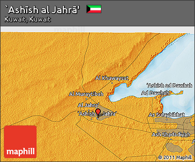 Free Political 3D Map of `Ashīsh Al Jahrā'