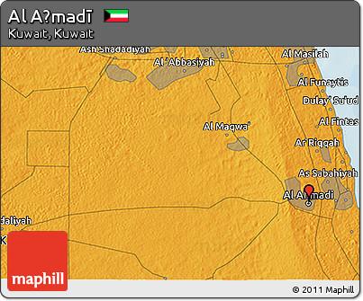Political 3D Map of Al Aḩmadī