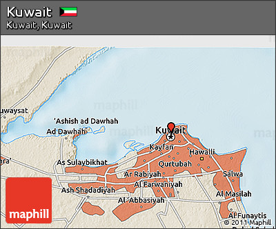 Shaded Relief 3D Map of Kuwait