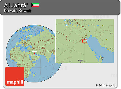 Free Savanna Style Location Map of Al Jahr