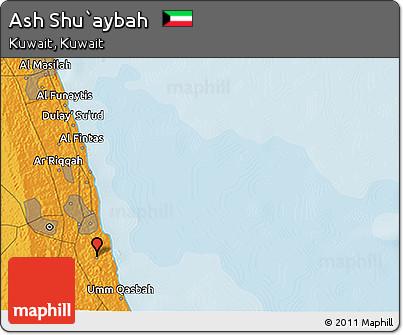Political 3D Map of Ash Shu`aybah