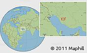 "Savanna Style Location Map of the area around 29°16'6""N,51°55'29""E"