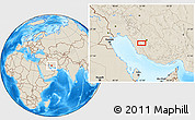 """Shaded Relief Location Map of the area around 29°16'6""""N,51°55'29""""E"""