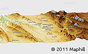 """Physical Panoramic Map of the area around 29°16'6""""N,51°55'29""""E"""