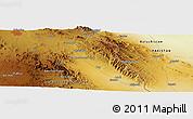 Physical Panoramic Map of Zāhedān