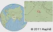 """Savanna Style Location Map of the area around 29°16'6""""N,76°34'29""""E, hill shading"""