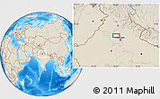 """Shaded Relief Location Map of the area around 29°16'6""""N,76°34'29""""E"""