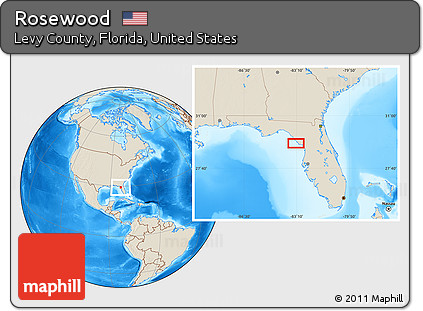 Free Shaded Relief Location Map Of Rosewood