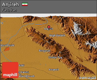 Physical 3D Map of Anjīreh