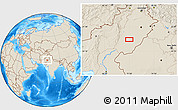 """Shaded Relief Location Map of the area around 29°44'59""""N,71°28'29""""E"""
