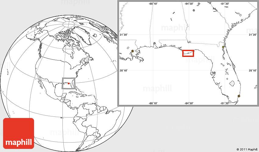 Blank Location Map of Fort Gadsden