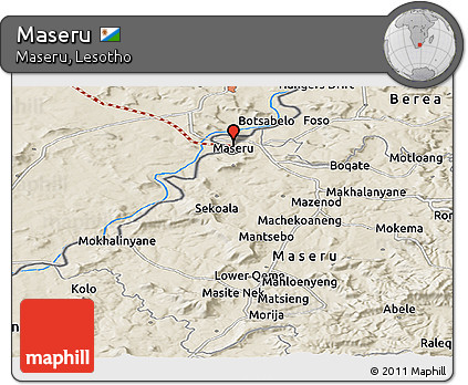 Free Shaded Relief Panoramic Map of Maseru