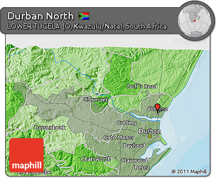 Free Political 3D Map of Durban North