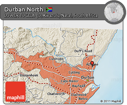 Free Shaded Relief 3D Map of Durban North