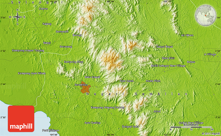 Physical Map of Seremban