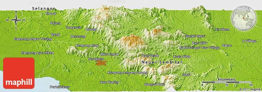 Physical Panoramic Map of Seremban