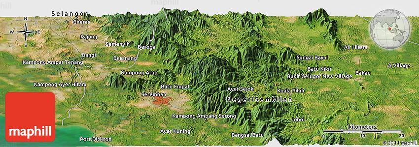 Satellite Panoramic Map of Seremban