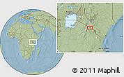Savanna Style Location Map of Mailua, hill shading