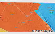 """Political 3D Map of the area around 2°27'3""""S,37°28'30""""E"""