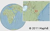 Savanna Style Location Map of Kalulini, hill shading