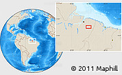 """Shaded Relief Location Map of the area around 2°27'3""""S,47°31'29""""W"""