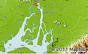 """Physical Map of the area around 2°27'3""""S,79°49'29""""W"""