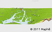 """Physical Panoramic Map of the area around 2°27'3""""S,79°49'29""""W"""