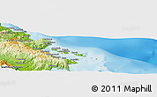 """Physical Panoramic Map of the area around 2°58'32""""S,122°28'29""""E"""