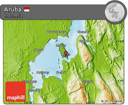 Free Physical Map Of Aruba - Aruba physical map