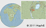 Savanna Style Location Map of Bugabiro, hill shading