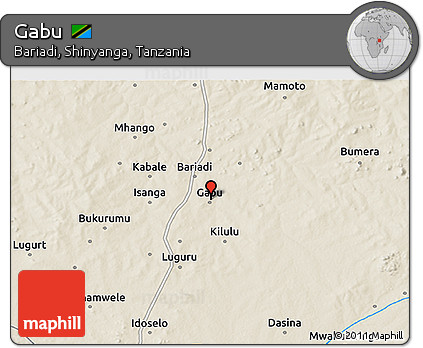 Free Shaded Relief 3D Map of Gabu
