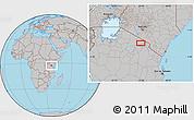 Gray Location Map of Tinga Tinga