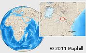 Shaded Relief Location Map of Tinga Tinga