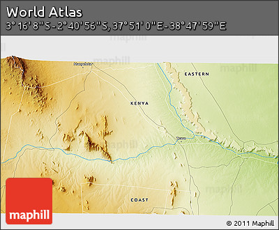 """Physical 3D Map of the Area around 2°58'32""""S,38°19'30""""E"""
