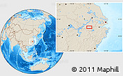 """Shaded Relief Location Map of the area around 30°13'46""""N,118°13'29""""E"""