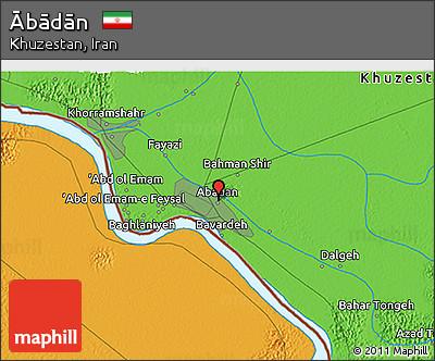 Political 3D Map of Ābādān