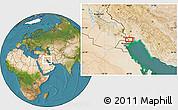 Satellite Location Map of Ābādān