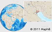 Shaded Relief Location Map of Ābādān