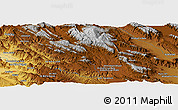 """Physical Panoramic Map of the area around 30°13'46""""N,51°55'29""""E"""