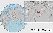 Gray Location Map of Multān, hill shading