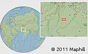 Savanna Style Location Map of Multān, hill shading